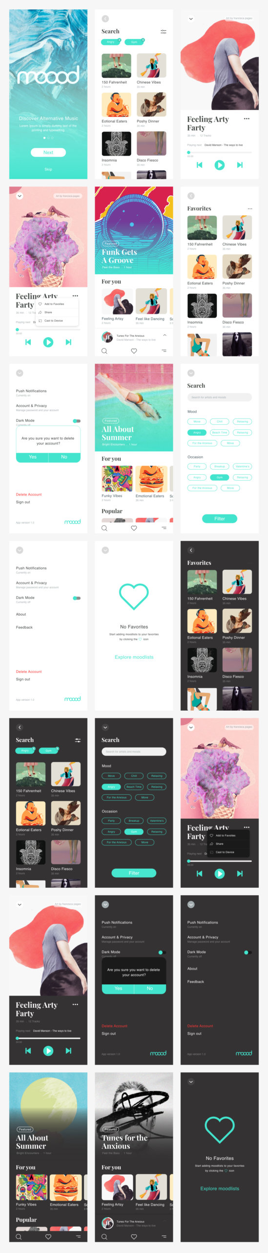 Moood Music App UI Kit for Adobe XD from UIGarage