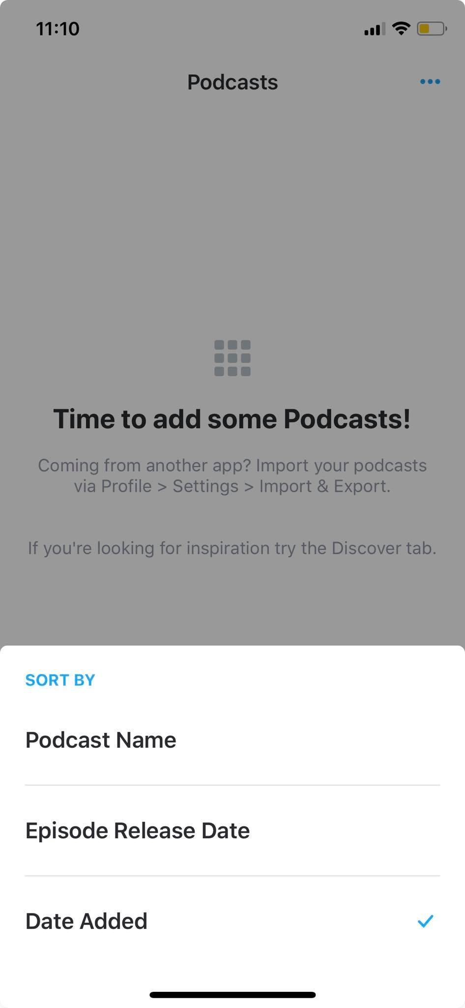 Sort on iOS by Pocket Casts from UIGarage