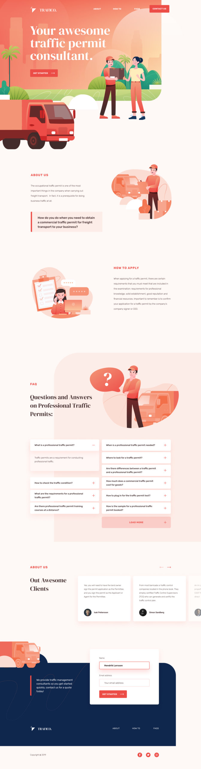 Traffico Landing Page for Figma from UIGarage