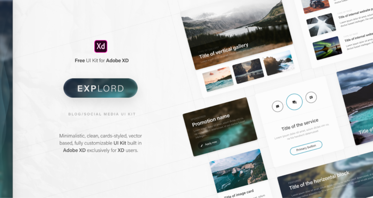 Explord – FREE UI Kit for Adobe XD from UIGarage