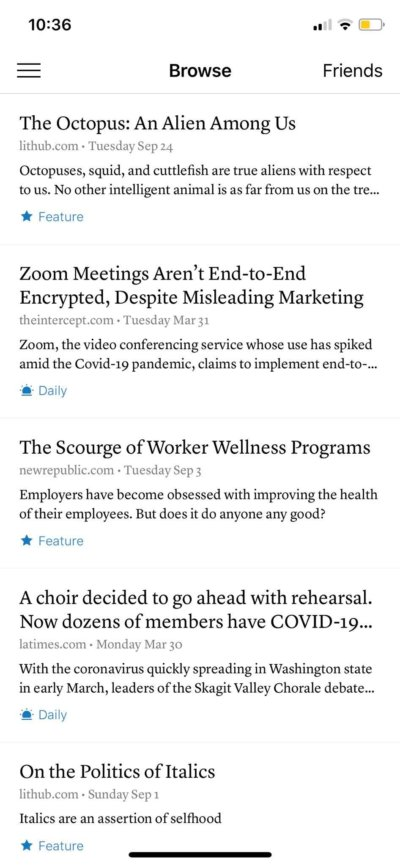 Browse on iOS by Instapaper from UIGarage