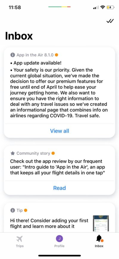 Inbox on iOS by App in the Air from UIGarage