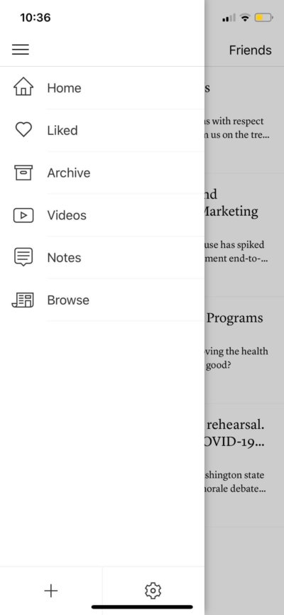 Menu on iOS by Instapaper from UIGarage