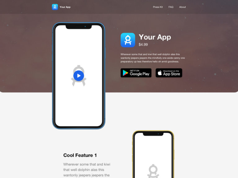 Mobile App Landing Page for Sketch from UIGarage