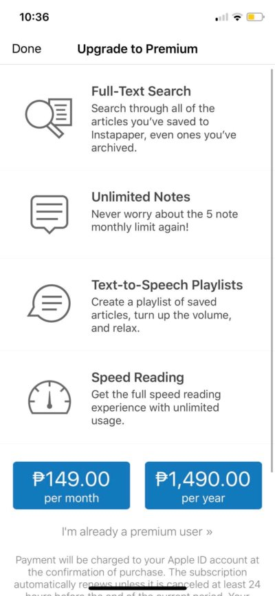 Pricing on iOS by Instapaper from UIGarage