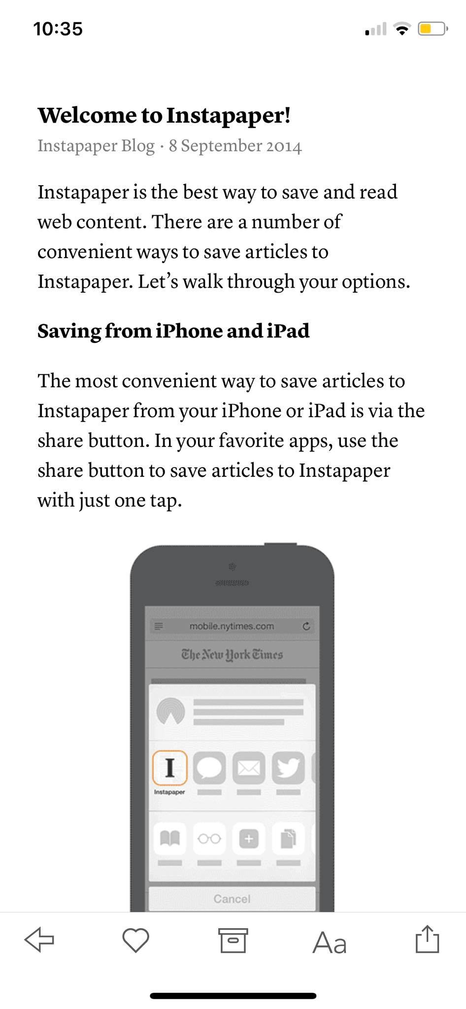 Welcome on iOS by Instapaper from UIGarage