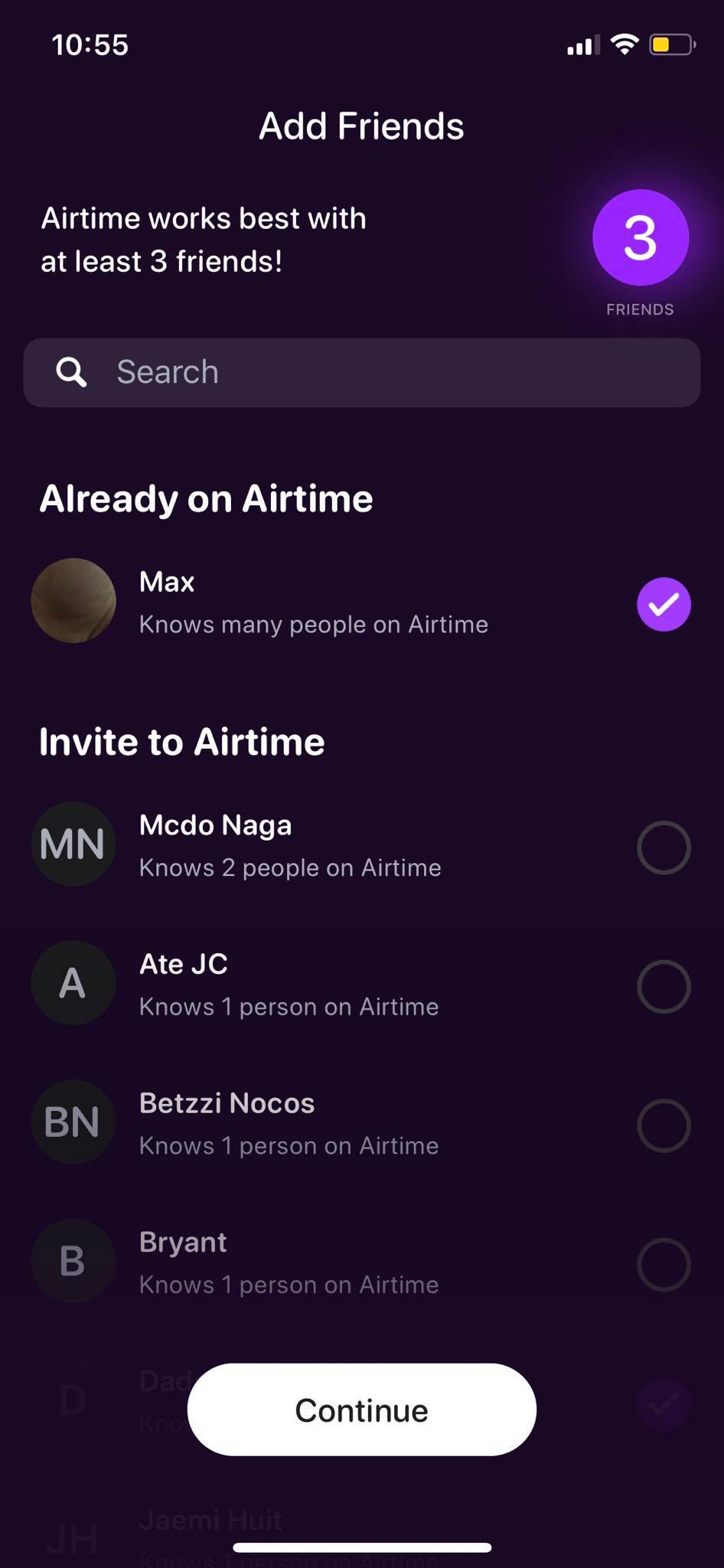 Add Friends on iOS by Airtime from UIGarage