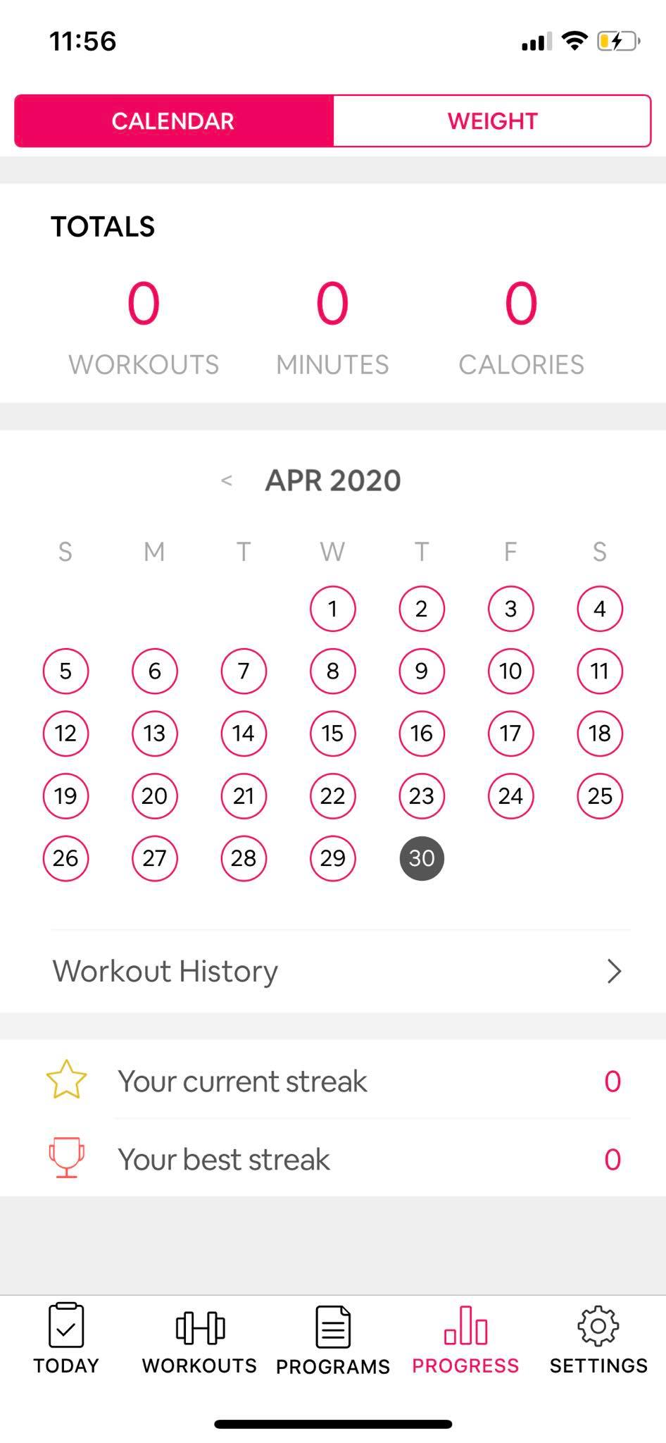 Calendar on iOS by Workout Women from UIGarage