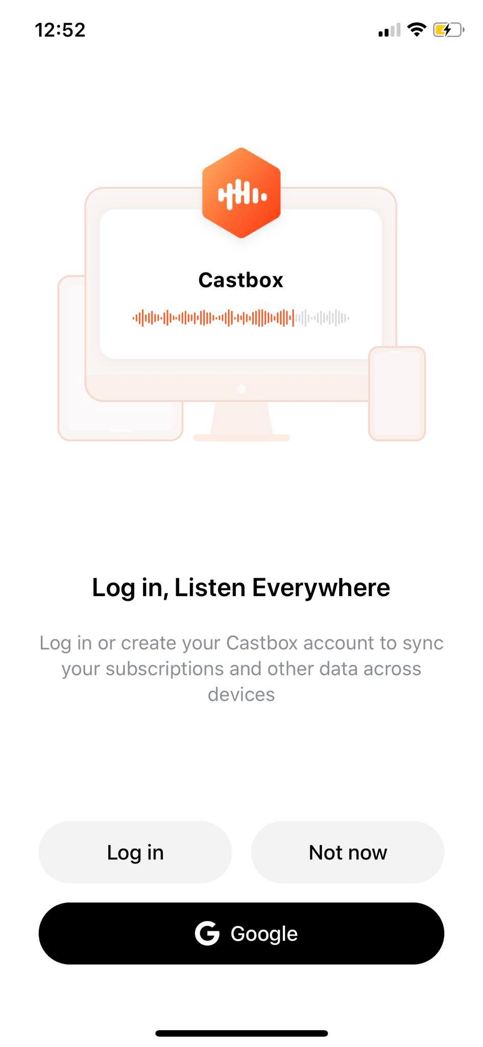 Login on iOS by Castbox from UIGarage