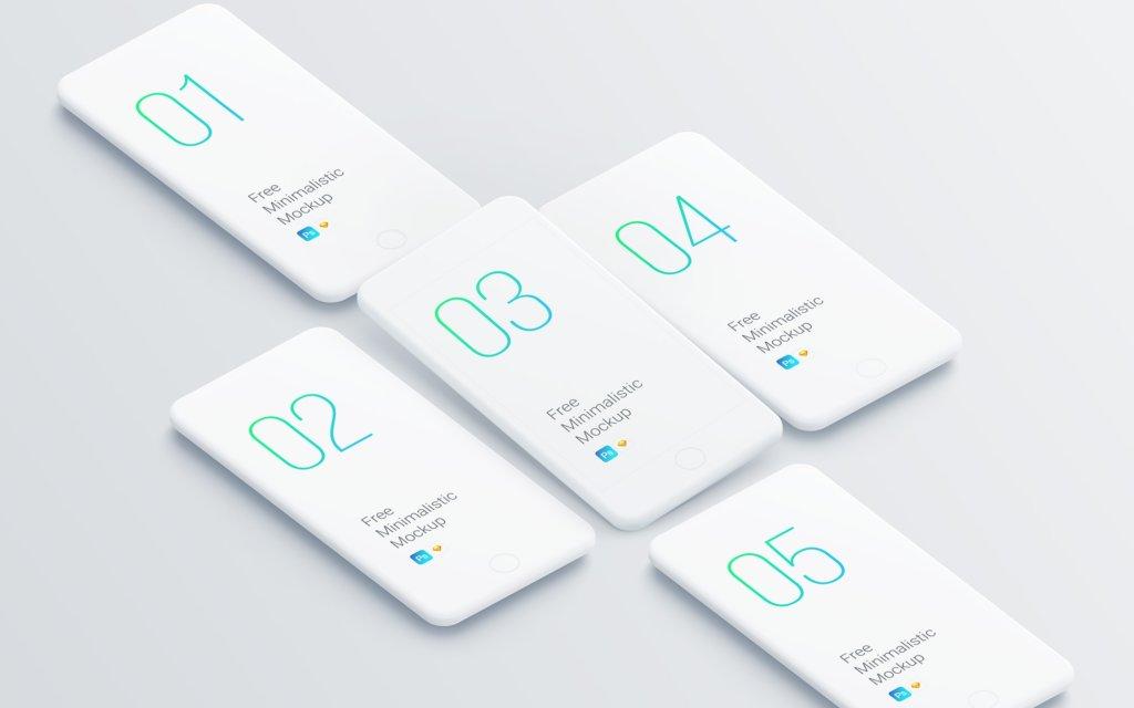 Minimalistic Smartphones Mockups from UIGarage