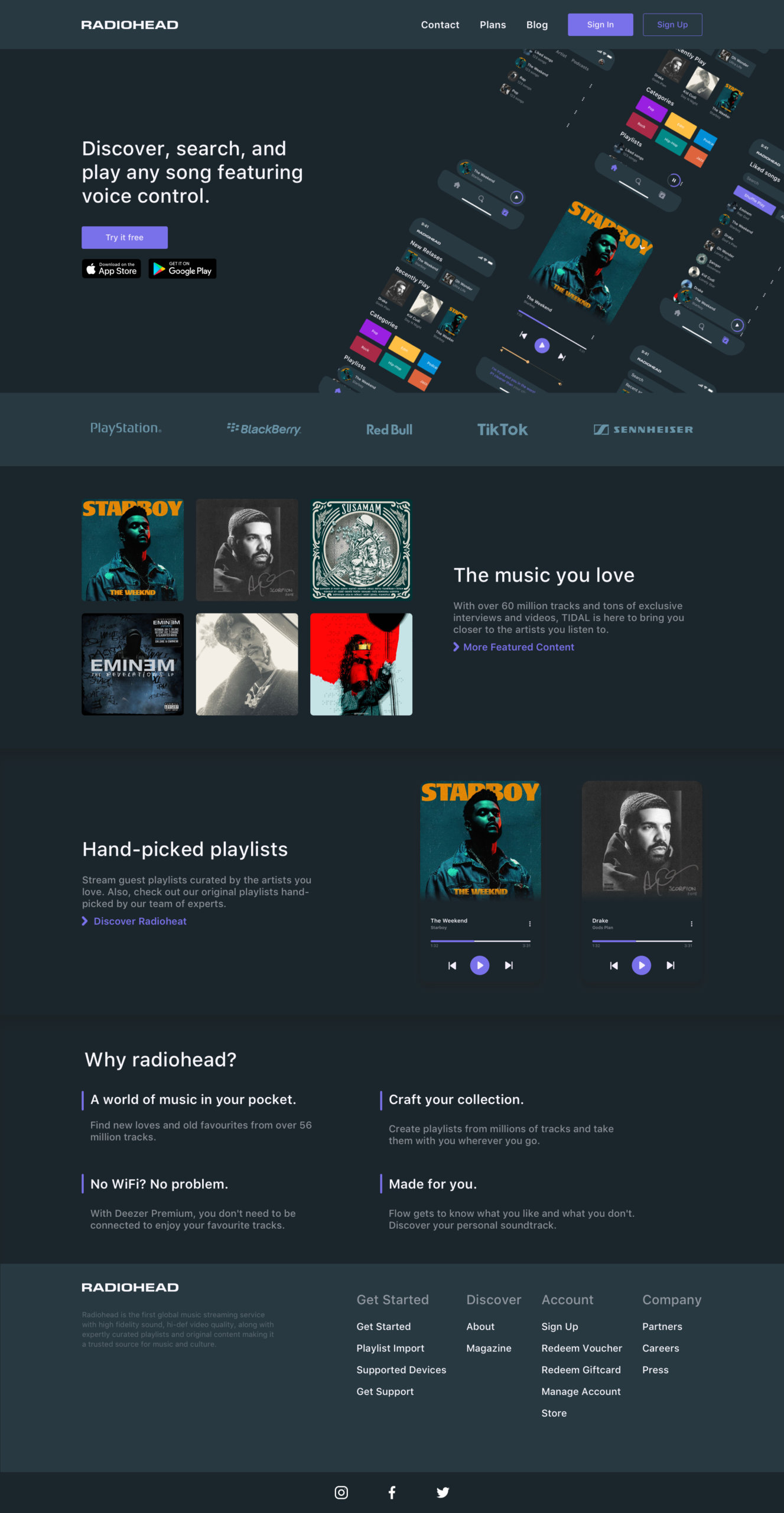 Music App Landing Page for Sketch from UIGarage