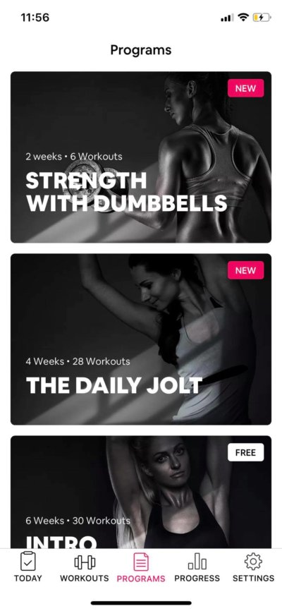 Programs on iOS by Workout Women from UIGarage