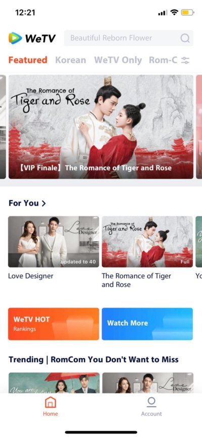 Featured on iOS by WeTV from UIGarage