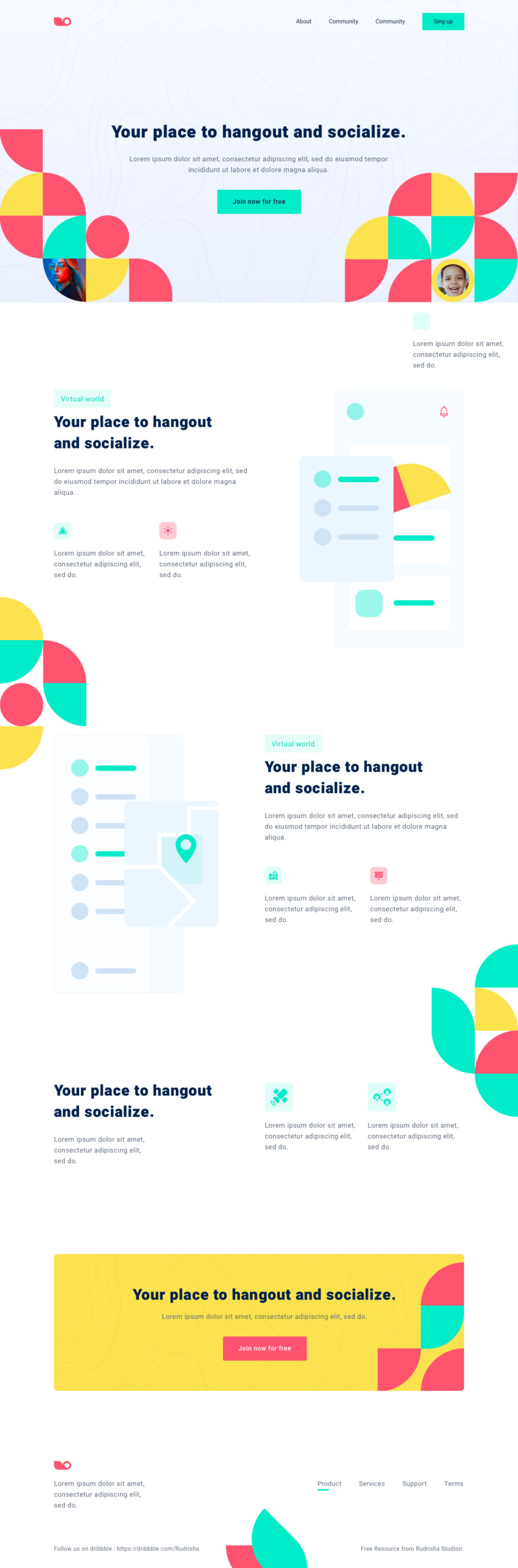 Social Meetup Landing Page for Sketch from UIGarage