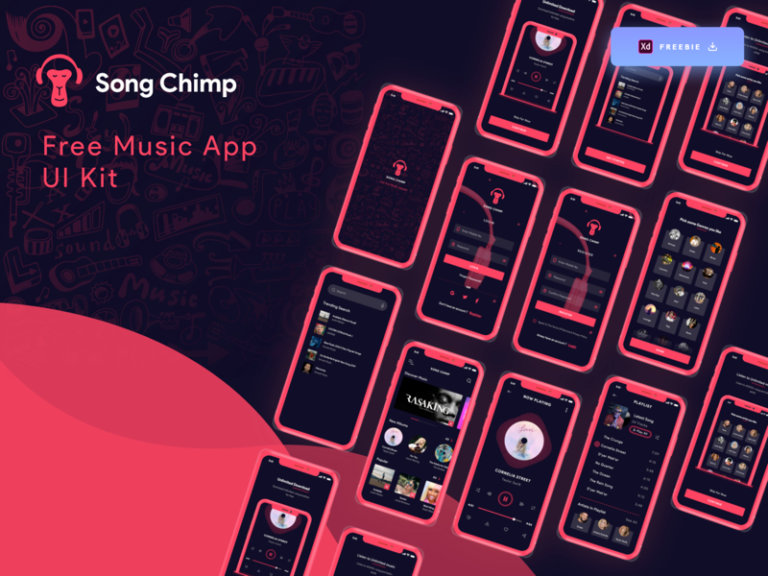 Song Chimp - Free Music App for Adobe XD Minimal and clean music app from UIGarage