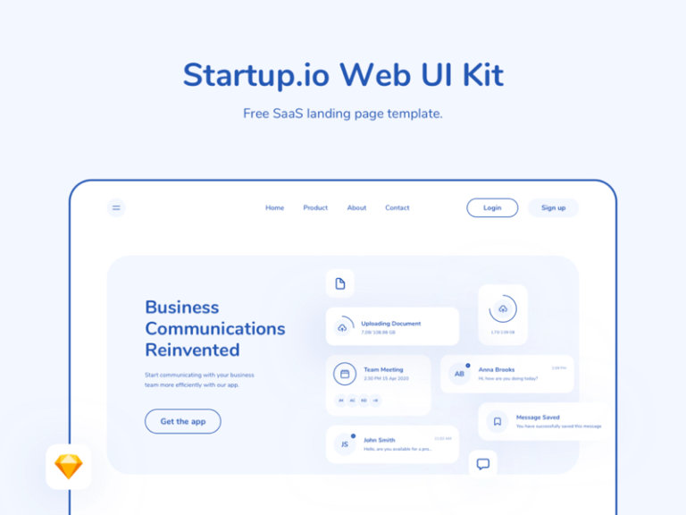 Startup.io - SaaS Web Landing Page UI Kit for Sketch from UIGarage