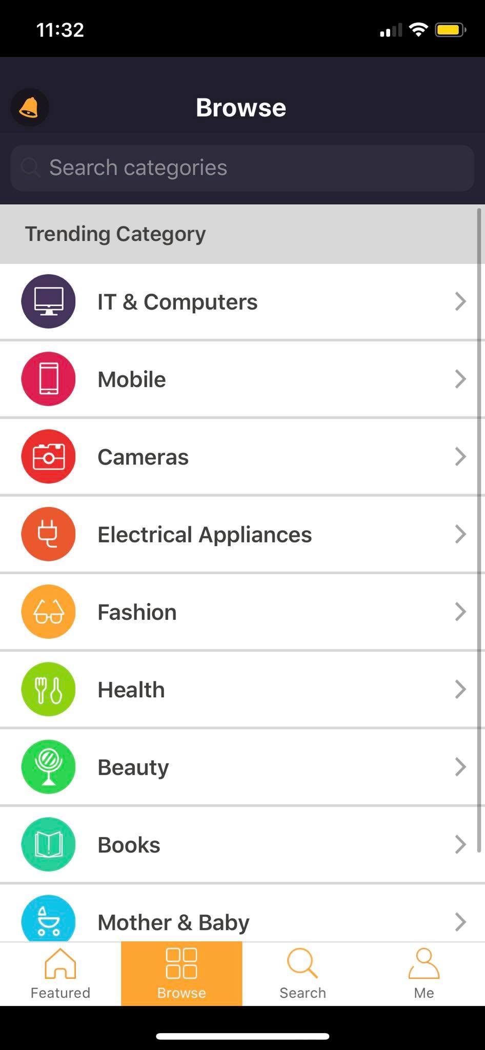 Browse Category on iOS by Priceza from UIGarage