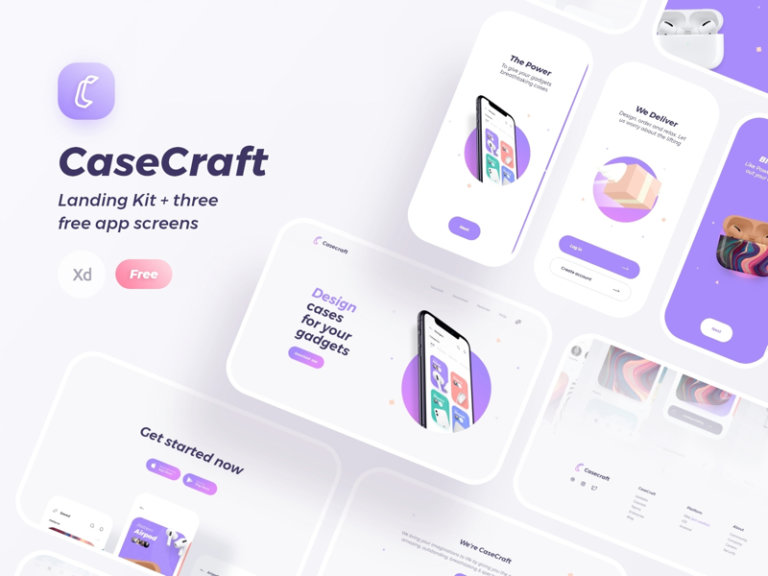 Case Craft Landing Kit for Adobe XD from UIGarage