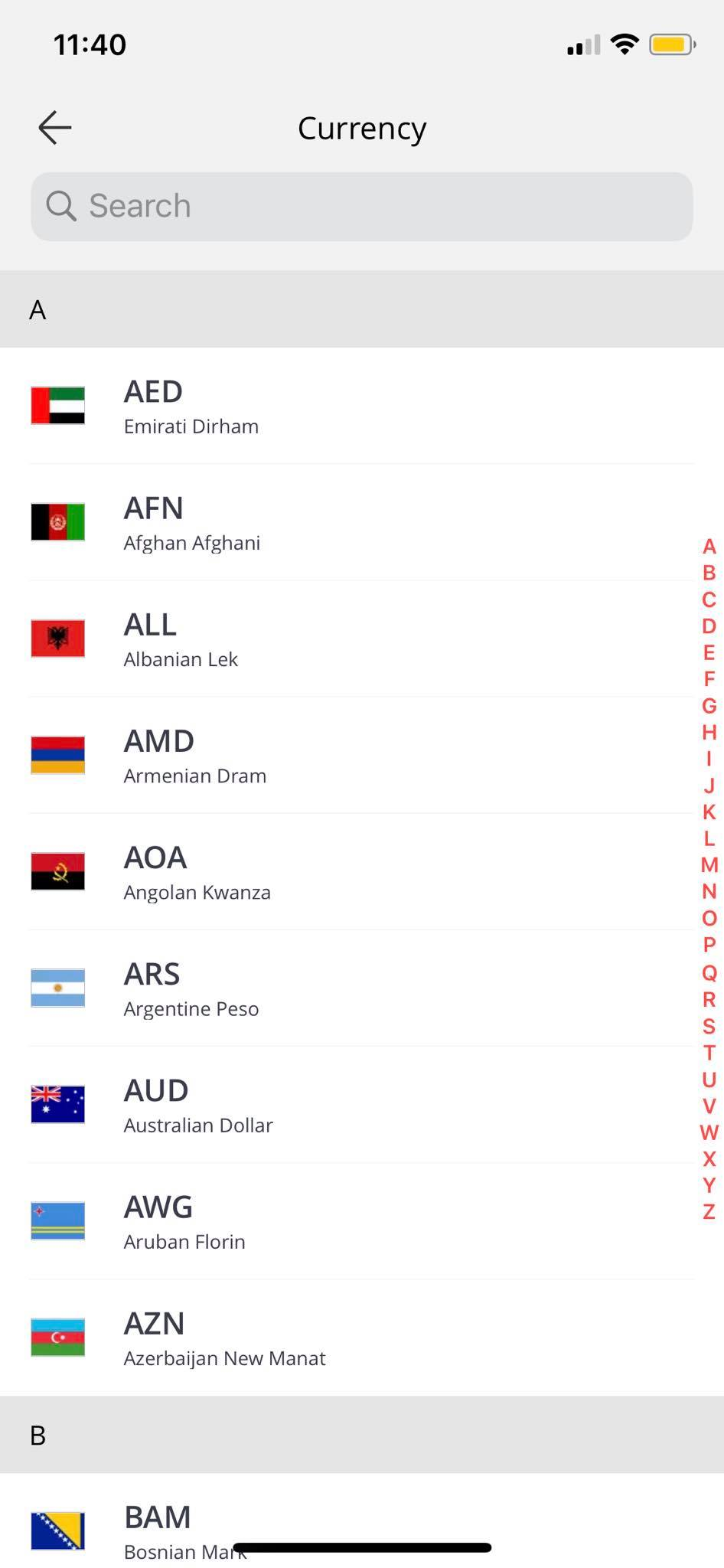 Currency on iOS by AliExpress from UIGarage
