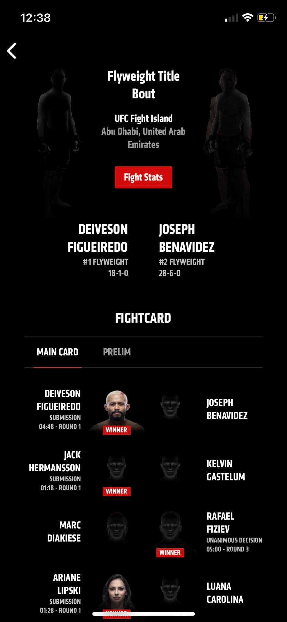Fight Stats on iOS by UFC from UIGarage