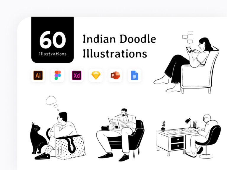 Indian Doodle Illustration Pack from UIGarage