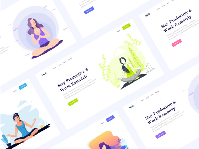 Medi - Meditation Web Headers for Figma from UIGarage