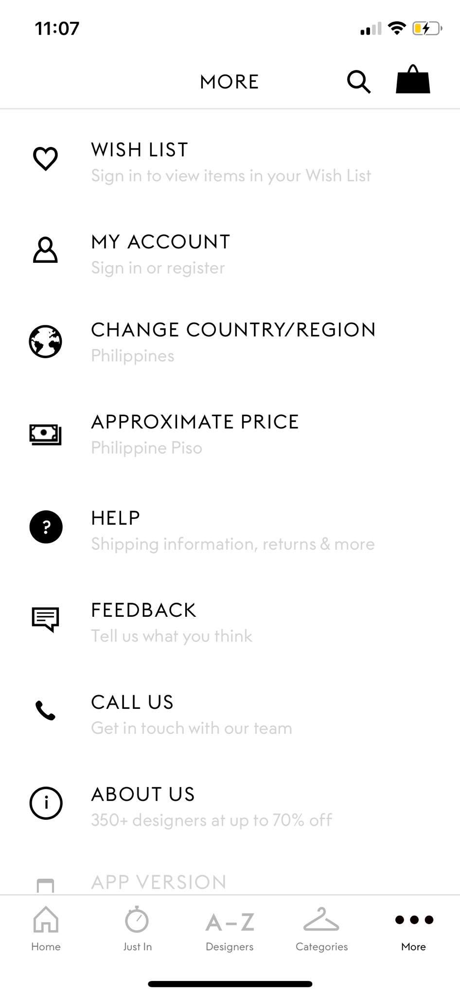 Menu on iOS by Outnet from UIGarage