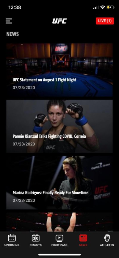 News on iOS by UFC from UIGarage
