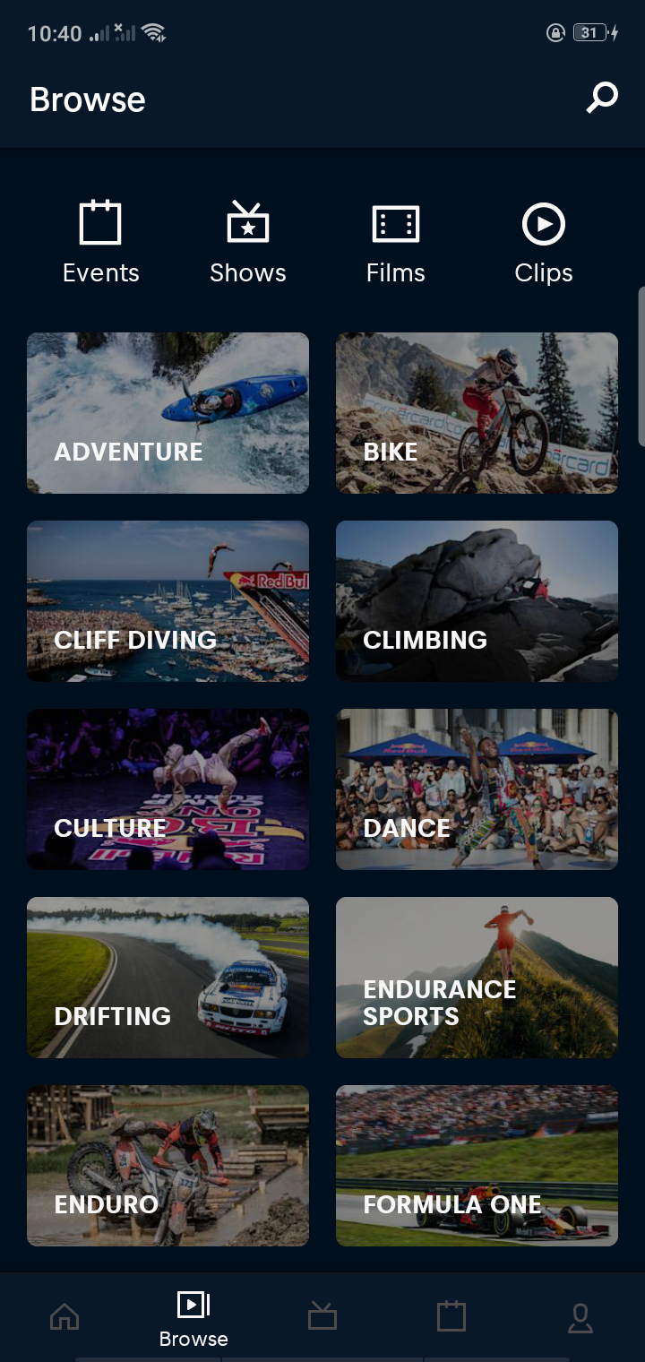 Categories on Android by Red Bull from UIGarage