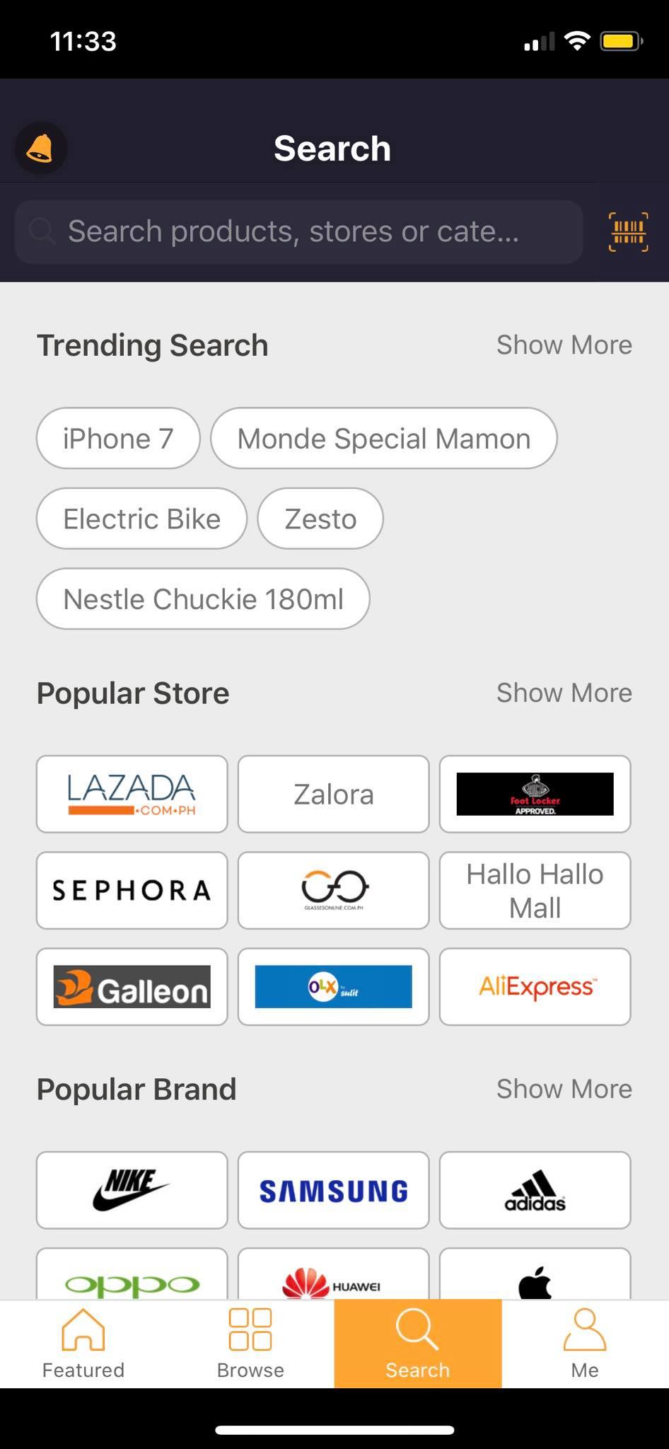 Search on iOS by Priceza from UIGarage
