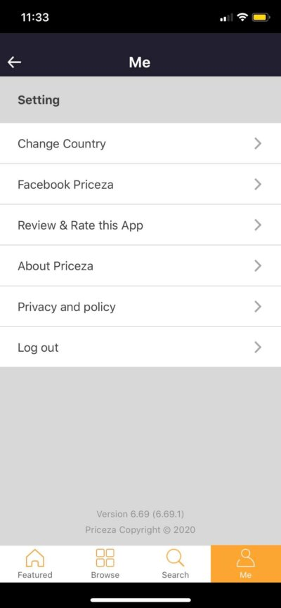 Settings on iOS by Priceza from UIGarage