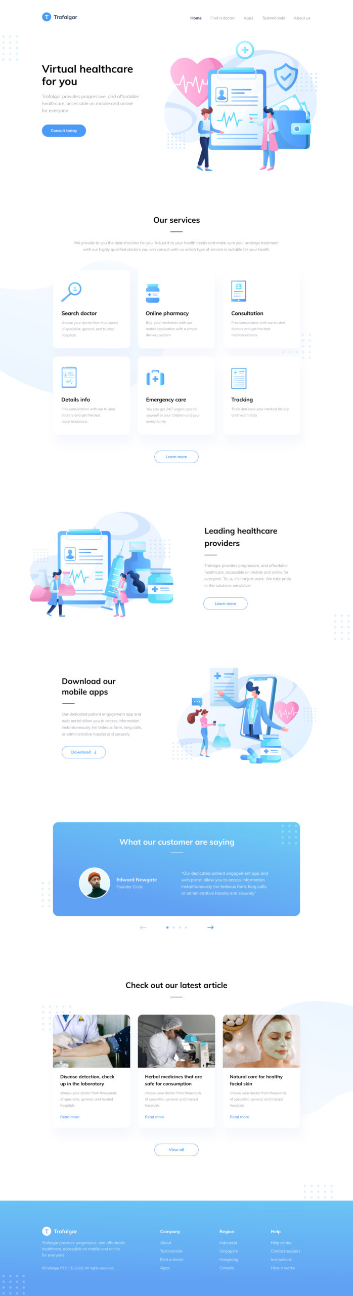Trafalgar Landing Page for Figma from UIGarage