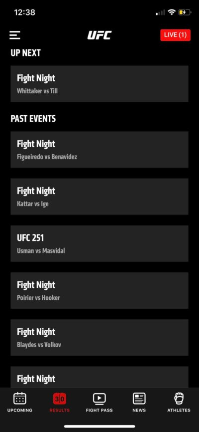 Up Next on iOS by UFC from UIGarage
