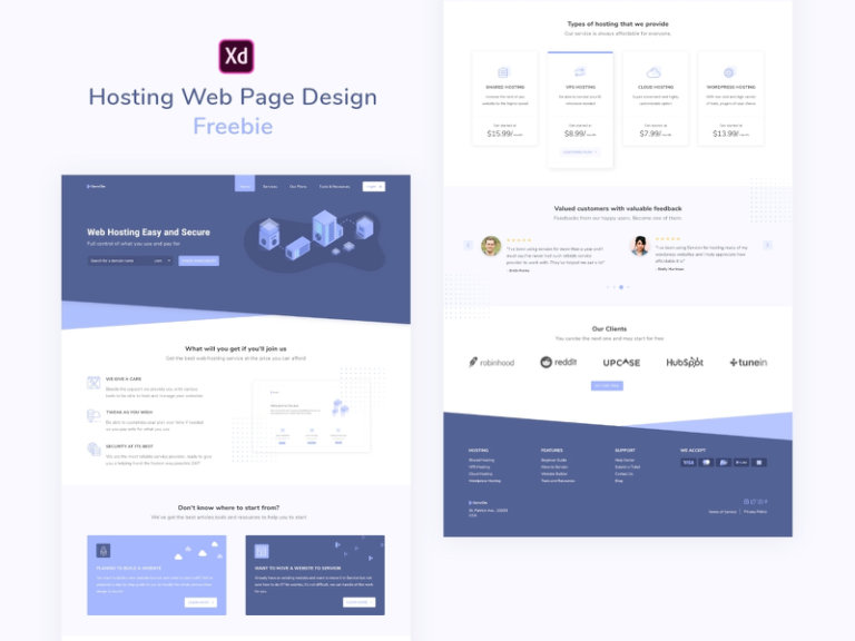 Web Hosting Landing Page for Adobe XD from UIGarage