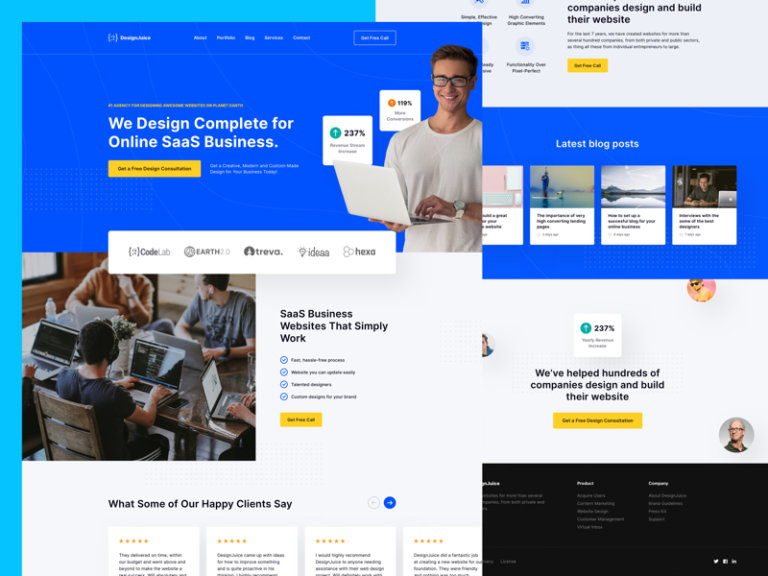 SaaS Business - Free Landing Page for Sketch from UIGarage