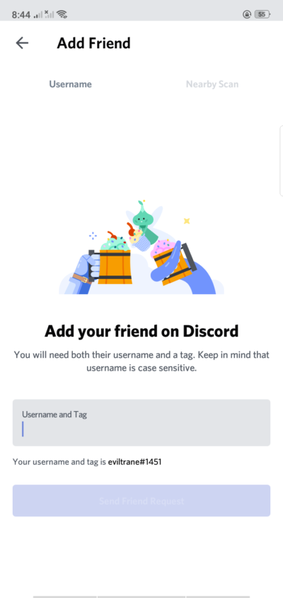 Add Friend on Android by Discord from UIGarage