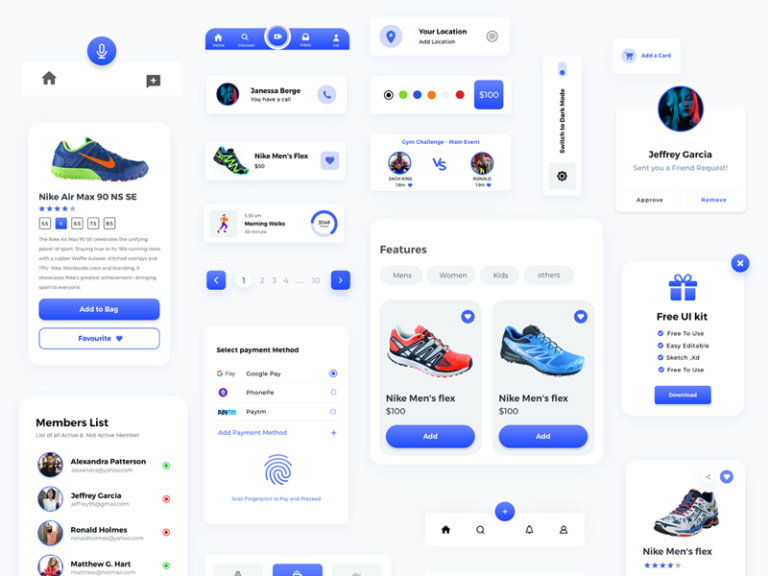 Components Free UI Kit for Adobe XD from UIGarage