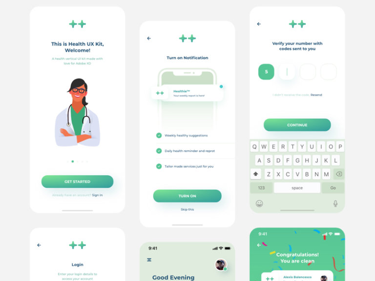 Health Industry Design System UI Kit for Adobe XD from UIGarage
