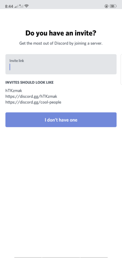 Invite on Android by Discord from UIGarage