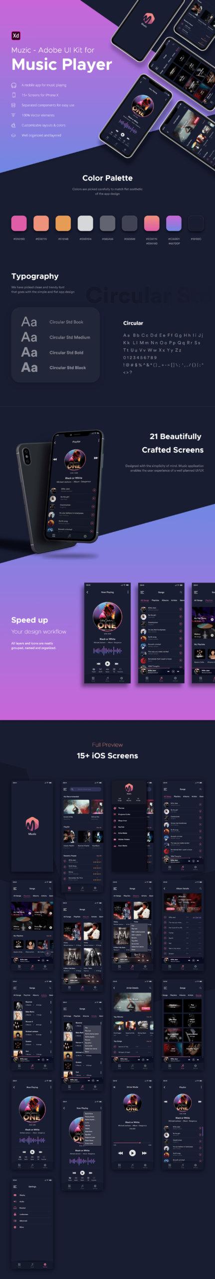 Muzic - Free Mobile UI Kit for Adobe XD from UIGarage