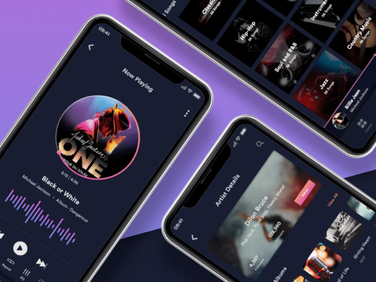 Muzic - Free Mobile UI Kit for Adobe XD from UIGarage