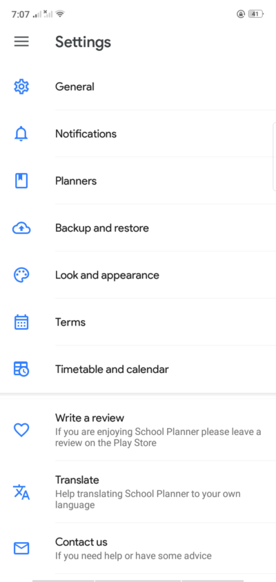 Settings on Android by School Planner from UIGarage