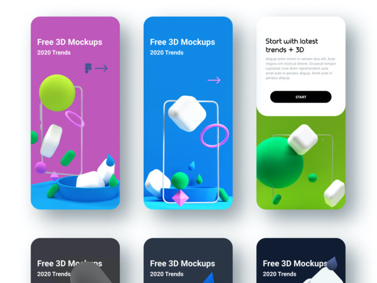 3D Models App Mockups for Figma from UIGarage