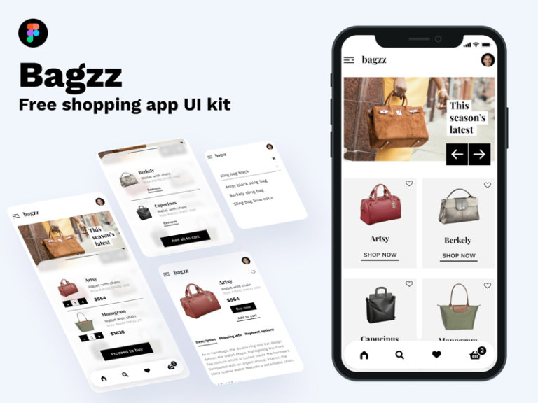 Bagzz - Free Shopping UI Kit for Figma from UIGarage