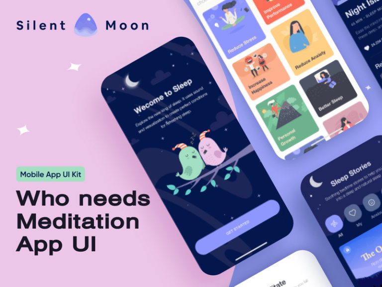 Meditation Free App UI Kit for Figma from UIGarage