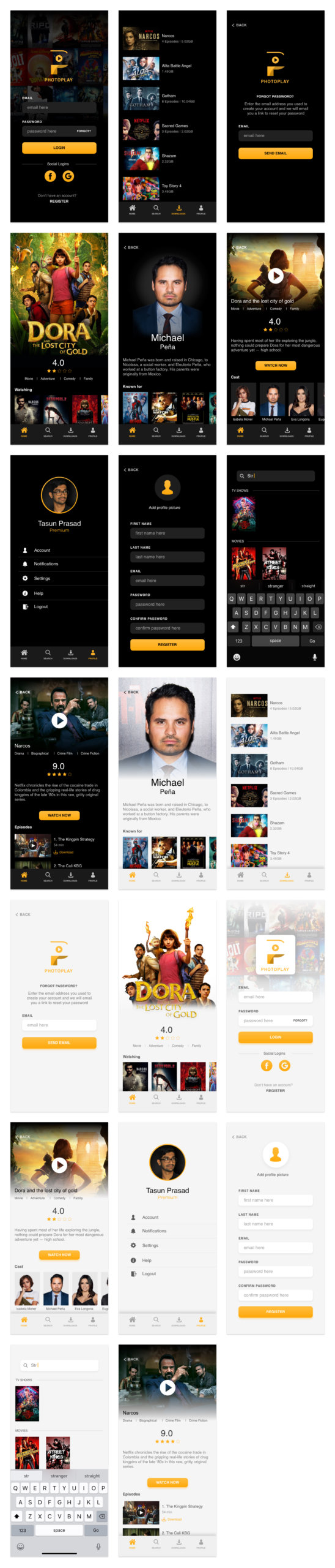 Photoplay Free UI Kit for Adobe XD from UIGarage
