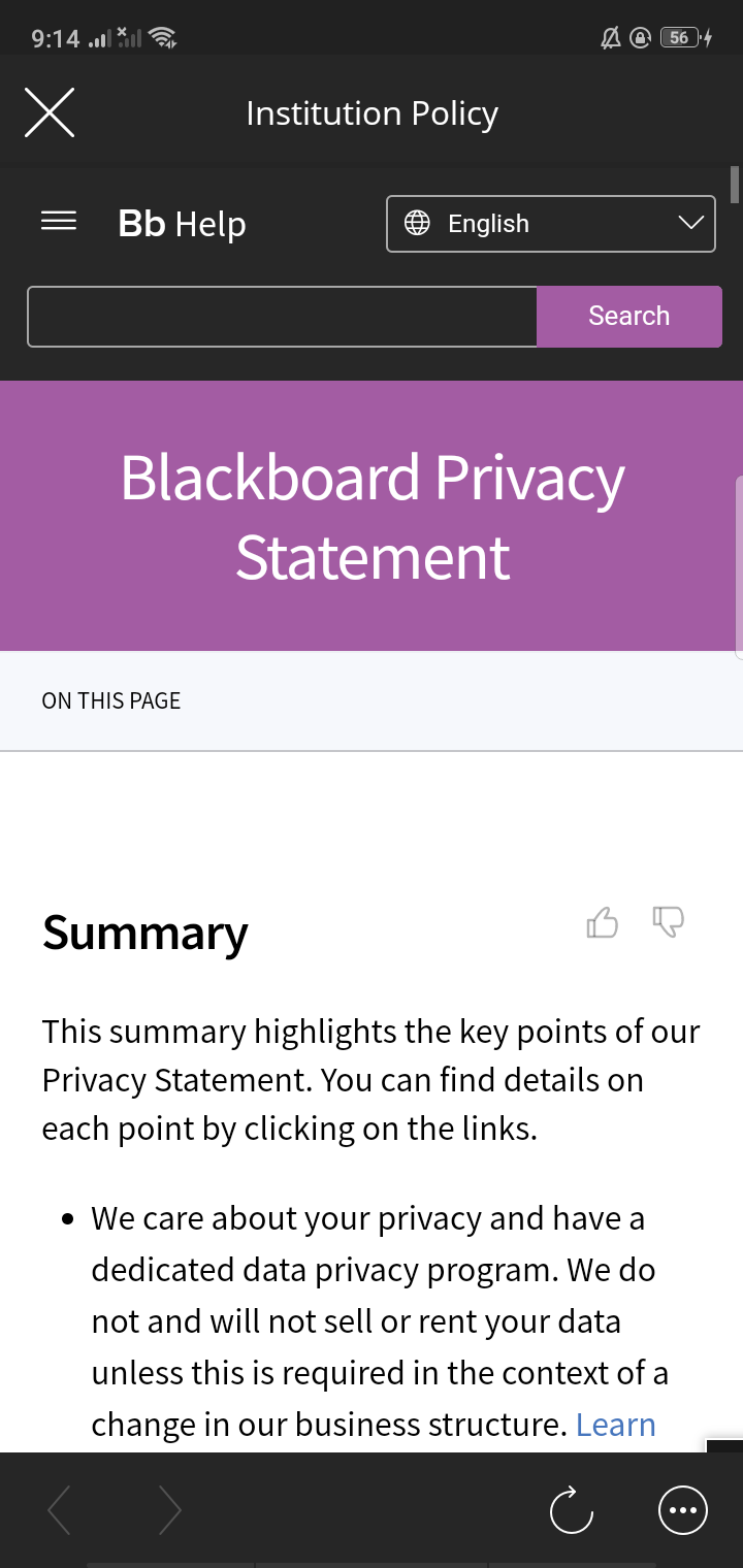 Policy on Android by Blackboard from UIGarage
