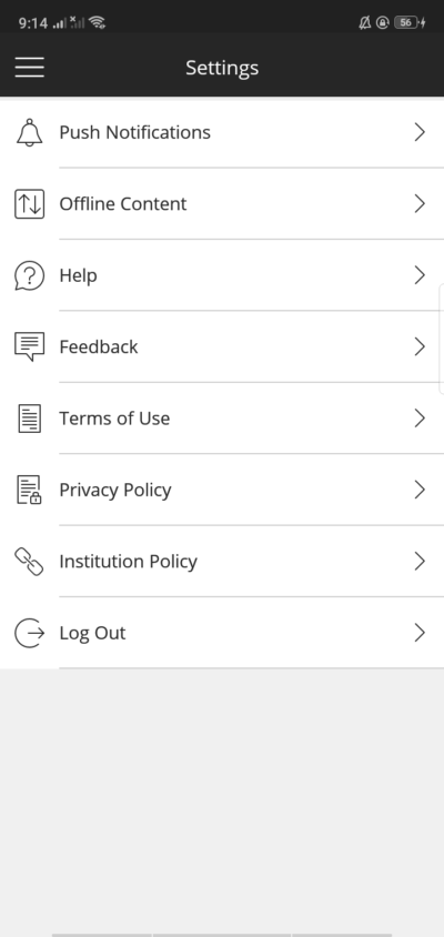 Settings on Android by Blackboard from UIGarage
