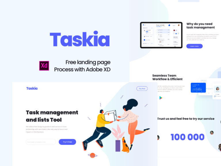 Taskia - Free Landing Page for Adobe XD from UIGarage