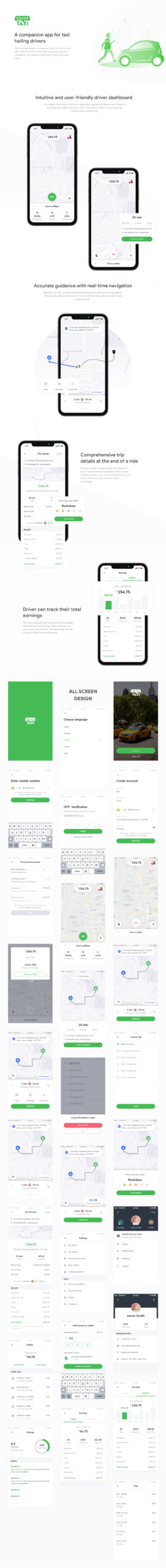 Yelow Taxi Driver App for Adobe XD from UIGarage